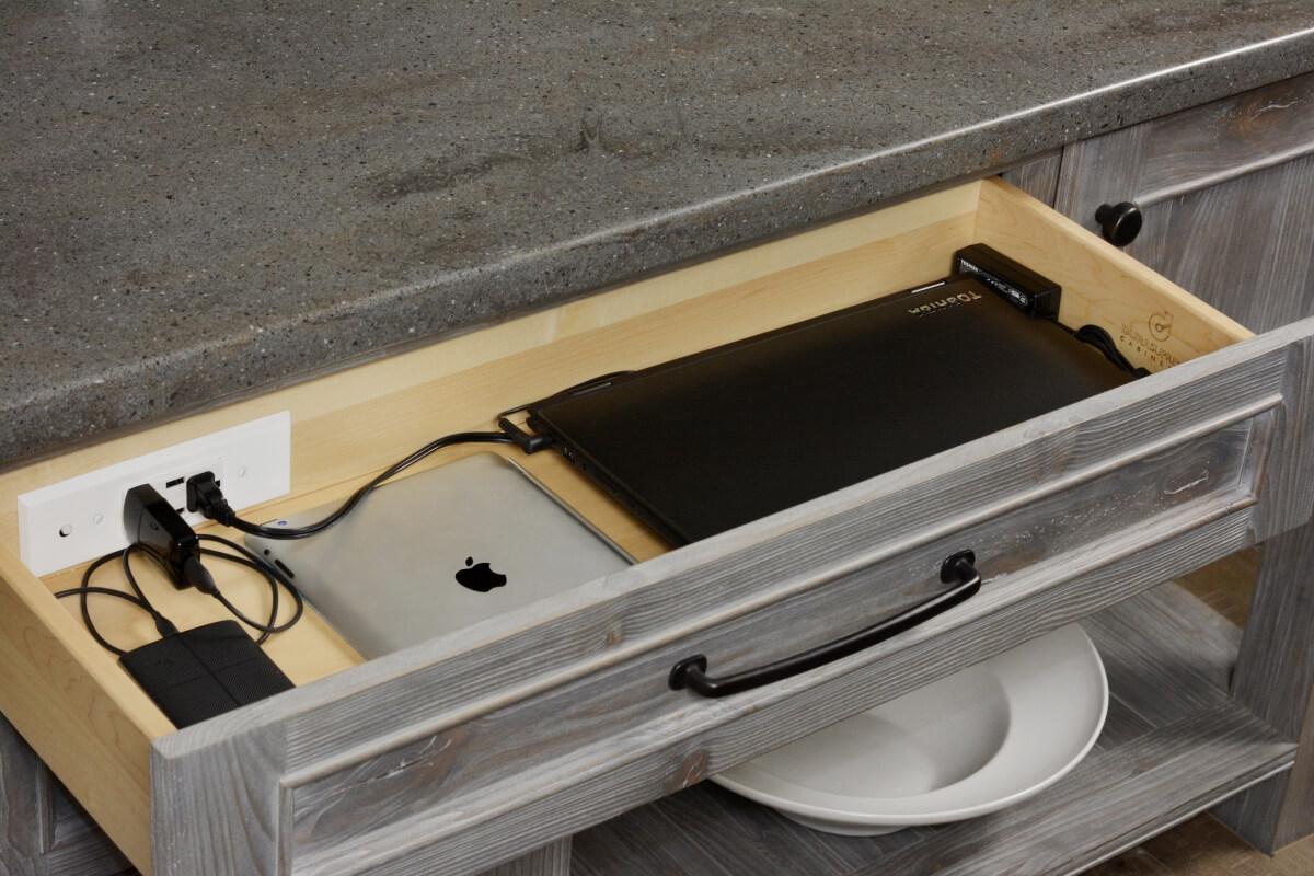 Dura Supreme Charging Drawer with Power and USB ports in Weathered finish