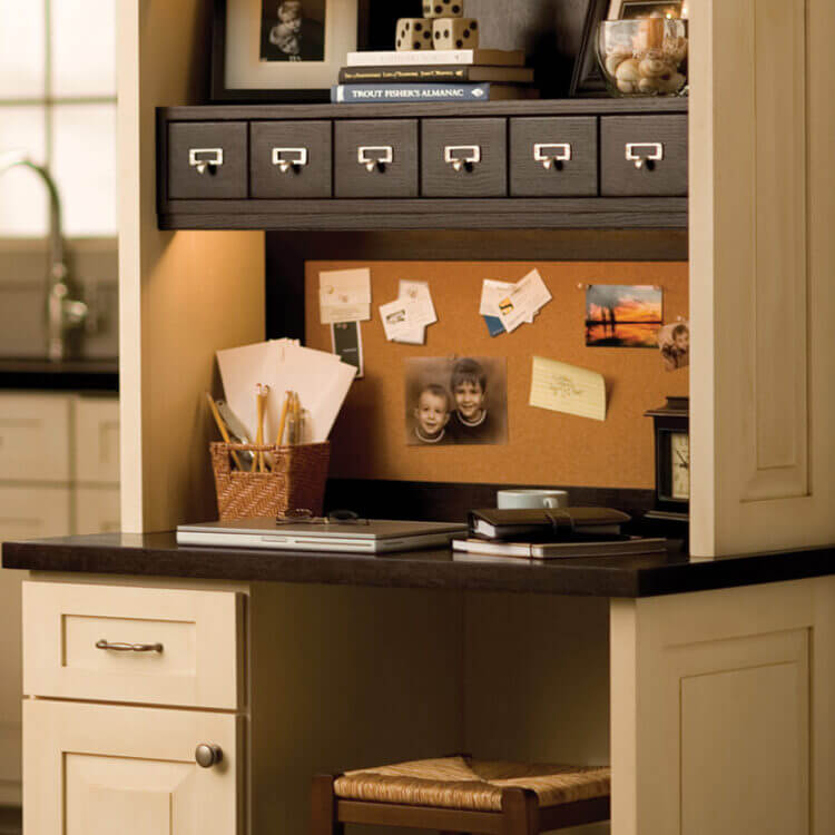 Kitchen Work Zones: The Kitchen Command Center. Home Office Desks in the Kitchen with Custom Cabinets.