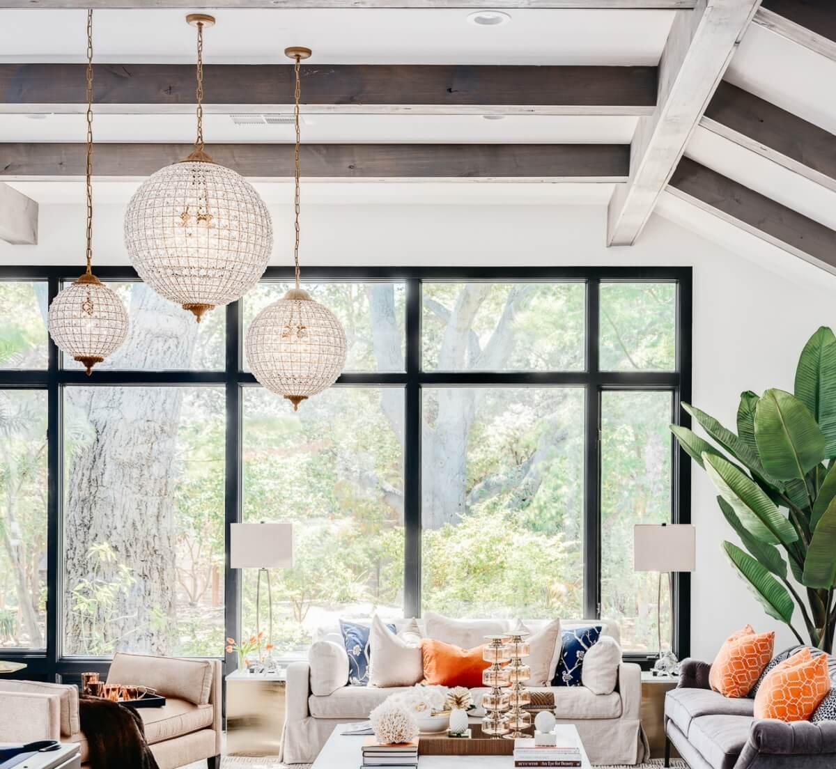 Large oversized circular pendant lighting in a very trending interior design.
