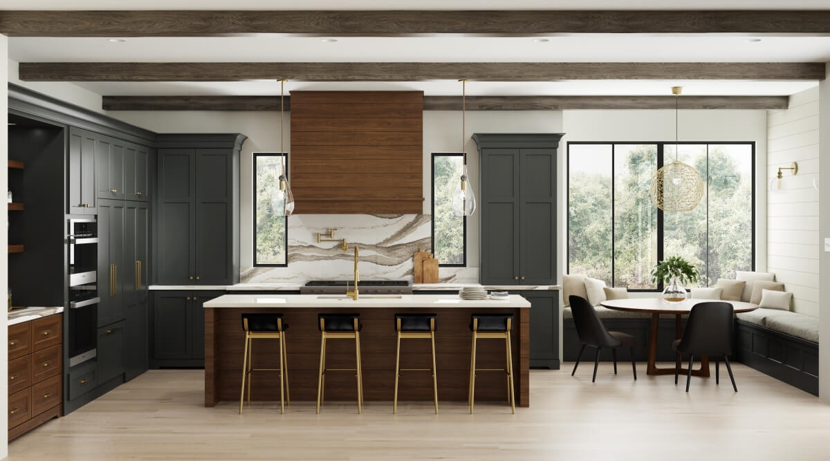 This Dura Supreme kitchen design features dual oversized pendant lights to add function and beauty to the kitchen island while an even larger single light defines the breakfast nook area.