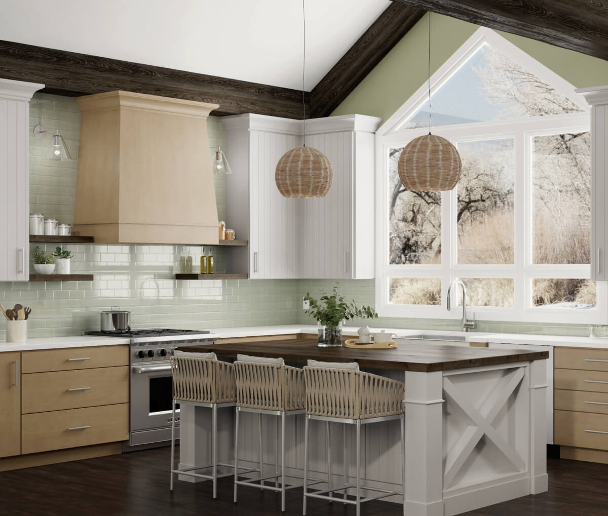 A modern danish style kitchen with scandinavian pendant lights over the shiplap kitchen island with an X Island End Cap.