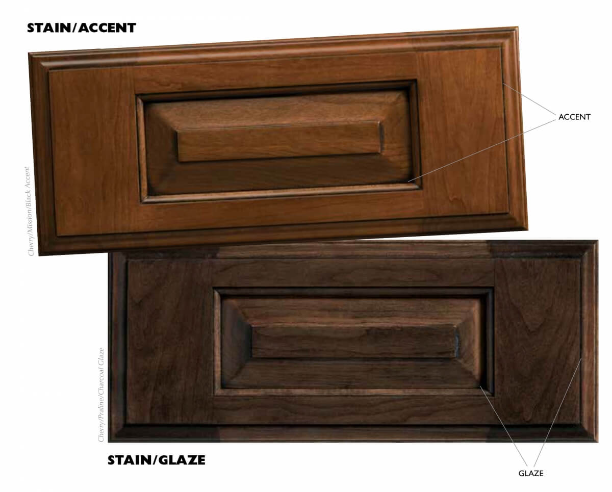Stain/Glaze VS. Stain/Accent finishes from Dura Supreme Cabinetry. Hand Made and Crafted in the USA.