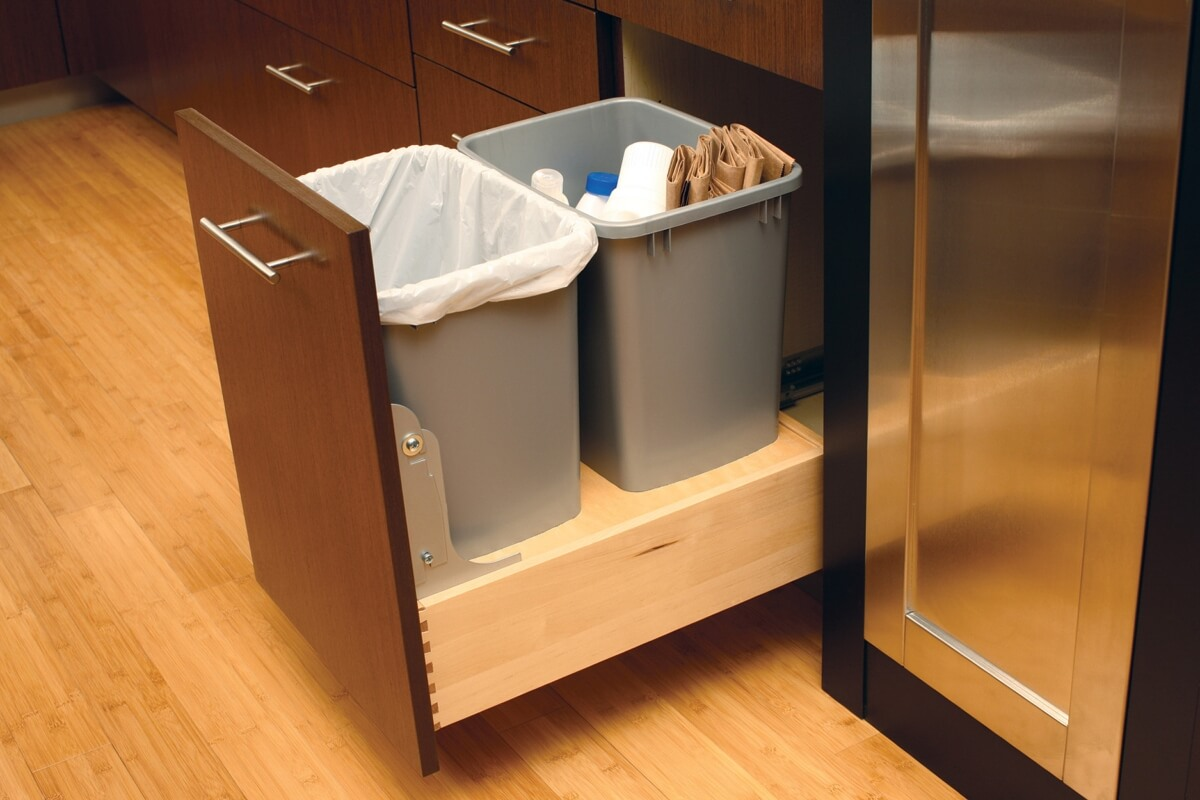 Base Recycling Center by Dura Supreme Cabinetry comes standard with a Touch-Latch Mechanism for Hands-free opening.