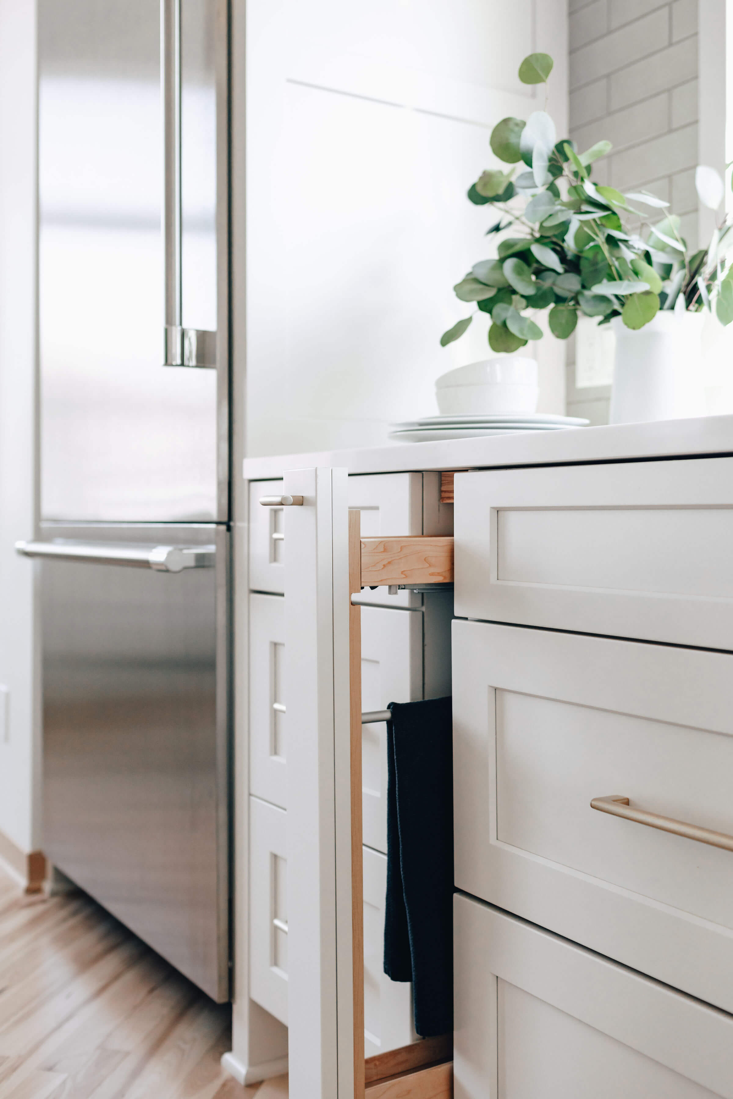 A Pull-Out Towel Rack Cabinet from Dura Supreme Cabinetry
